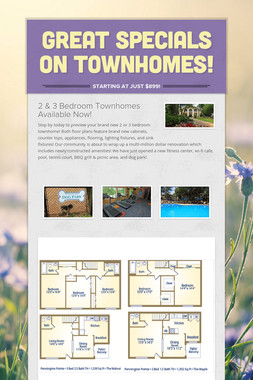 Great Specials On Townhomes!