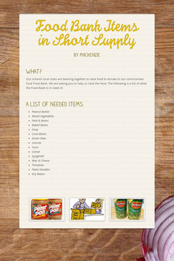Food Bank Items in Short Supply