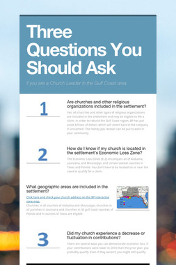 Three Questions You Should Ask