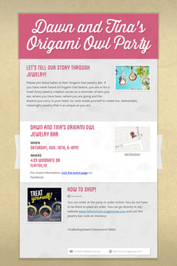Dawn and Tina's Origami Owl Party