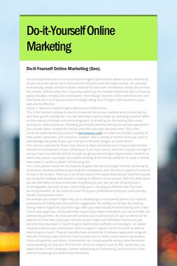 Do-it-Yourself Online Marketing