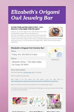 Elizabeth's Origami Owl Jewelry Bar