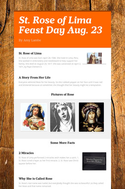 St. Rose of Lima Feast Day Aug. 23