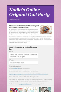 Nadia's Online Origami Owl Party