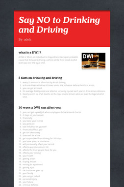 Say NO to Drinking and Driving