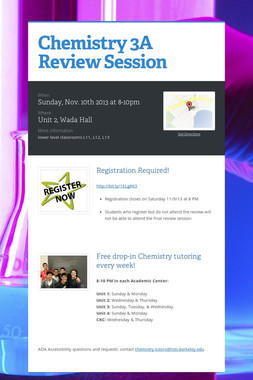 Chemistry 3A Review Session