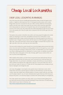 Cheap Local Locksmiths