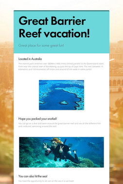 Great Barrier Reef vacation!