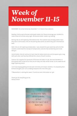 Week of November 11-15