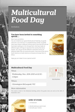 Multicultural Food Day
