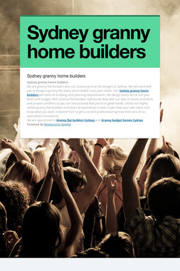 Sydney granny home builders