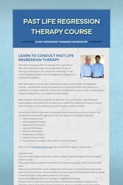 Past Life Regression Therapy Course