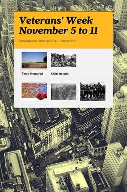 Veterans' Week November 5 to 11