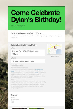 Come Celebrate Dylan's Birthday!