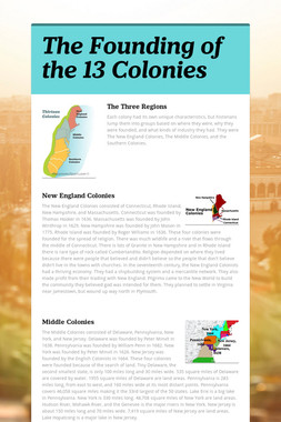 The Founding of the 13 Colonies