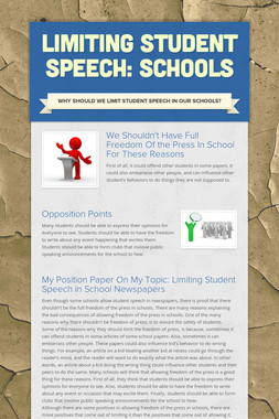 Limiting Student speech: Schools