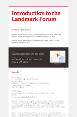 Introduction to the Landmark Forum