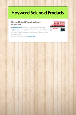 Hayward Solenoid Products