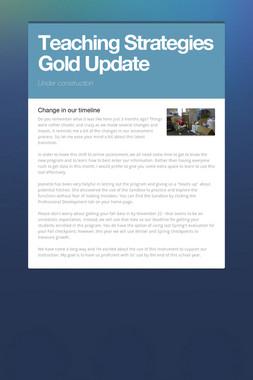 Teaching Strategies Gold Update