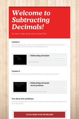 Welcome to Subtracting Decimals!