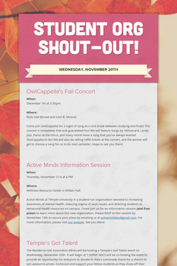 Student Org Shout-Out!