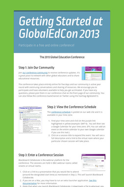 Getting Started at GlobalEdCon 2013