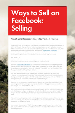 Ways to Sell on Facebook: Selling