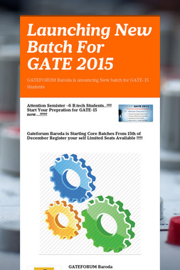 Launching New Batch For GATE 2015