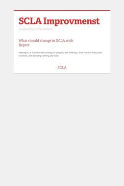 SCLA Improvmenst
