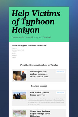 Help Victims of Typhoon Haiyan