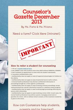 Counselor's Gazette  December 2013