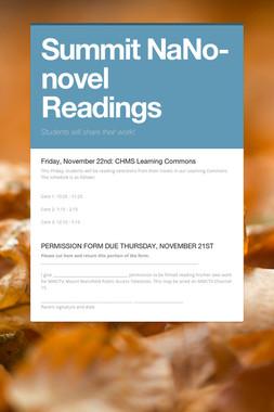 Summit NaNo-novel Readings
