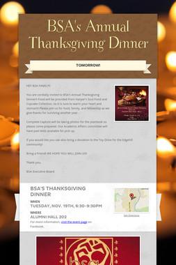 BSA's Annual Thanksgiving Dinner
