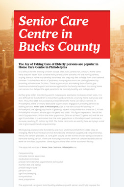 Senior Care Centre in Bucks County