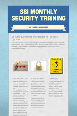 SSI Monthly Security Training