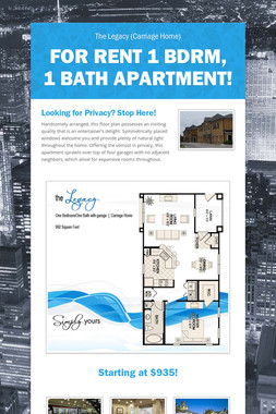 For Rent 1 Bdrm, 1 Bath Apartment!