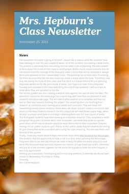 Mrs. Hepburn's Class Newsletter