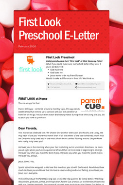 First Look Preschool E-Letter