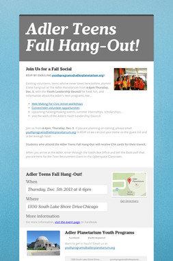Adler Teens Fall Hang-Out!
