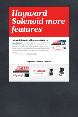 Hayward Solenoid more features