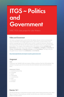 ITGS ~ Politics and Government