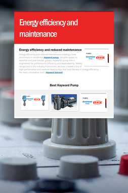 Energy efficiency and maintenance