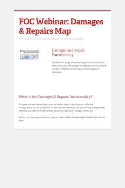 FOC Webinar: Damages & Repairs Map
