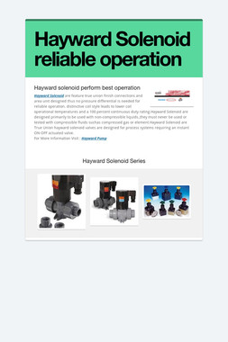 Hayward Solenoid reliable operation