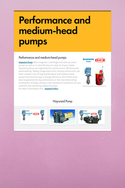 Performance and medium-head pumps