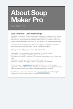 About Soup Maker Pro