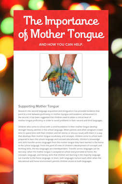 The Importance of Mother Tongue