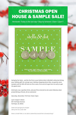 Christmas Open House & Sample Sale!