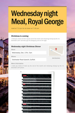 Wednesday night Meal, Royal George