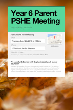 Year 6 Parent PSHE Meeting